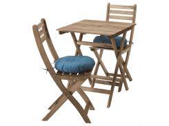 ASKHOLMEN Стол+2 стула, на открытом воздухе, серовато базы морилка, Stegon бежевый