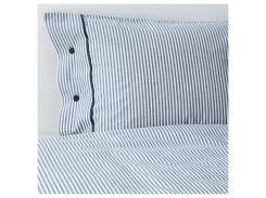 NYPONROS Комплект постельного белья, белый/синий