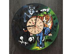 Большие круглые цветные настенные часы 7Arts Джунгли CL-0075