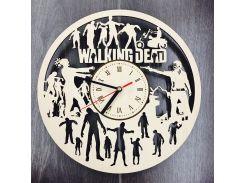 Бесшумные настенные деревянные часы 7Arts Ходячие мертвецы CL-0084