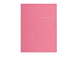 Тетрадь на пружине Buromax Barocco, А4, 80 л, клетка, пласт. обложка, розовый (BM.2446-610)
