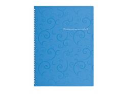 Тетрадь на пружине Buromax Barocco, А4, 80 л, клетка, пласт. обложка, голубой (BM.2446-614)