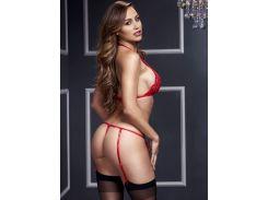 Сексуальный комплект белья с трусиками в виде пояса красного цвета