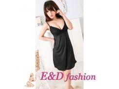 Ночная кружевная сорочка с трусиками стринг Klodi black черного цвета