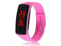 Спортивные розовые наручные LED часы браслет XIAOYA 9812