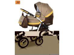 Детская коляска 2 в 1 Verdi Optima 10 корич кожа\беж