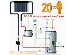 Вакуумный солнечный коллектор Apricus для ГВС. Незакипаемая система Drainback. Пакетное предложение (1000 л. горячей воды в сутки)