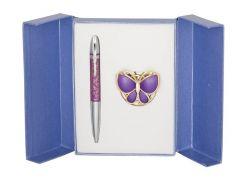 Ручки в наборе Langres Papillon 1шт+крючок для сумки фиолет LS.122010-07