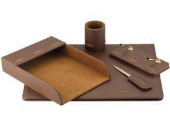 Настольный набор кожзам Optima Cabinet 5 предметов, коричневый O36472