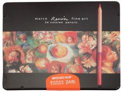 Карандаши цветные 24цв. MARCO FineArt в металлическом пенале 24TN