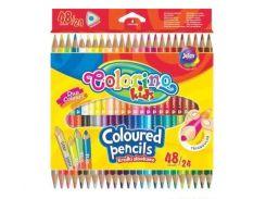Карандаши цветные 48цв. Colorino двухсторонние треугольные 51705