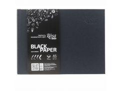 Блокнот для набросков А5 14,8*21см Rosa Studio 80г/м 96л. черные листы 16R5011