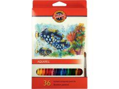 Карандаши акварельные цветные «Рыбки» 36 цв. (2.8мм) KOH-I-NOOR Mondeluz 3719_р