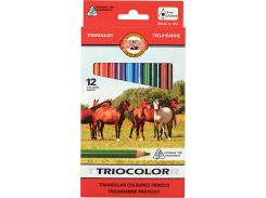 Карандаши цветные толстые 12 цв. KOH-I-NOOR 3142 Triocolor Jumbo Horses