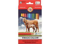 Карандаши цветные толстые 24цв. KOH-I-NOOR 3144 Triocolor Jumbo Horses