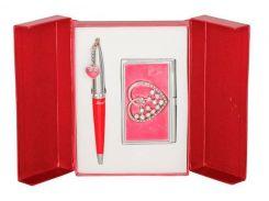Ручки в наборе Langres Crystal Heart 1шт+визитница красный LS.122008-05
