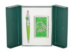 Ручки в наборе Langres Crystal Heart 1шт+визитница зеленый LS.122008-04
