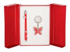 Ручки в наборе Langres Butterfly 1шт+брелок красный LS.122007-05