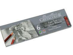 Карандаши чернографитные простые CRETACOLOR набор 6шт в метал коробке Cleos 16025