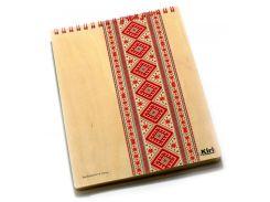 Блокнот для записей на пружине А5 70л. Kirisketch Дерево, Вышиванка красная 770457_в клетку