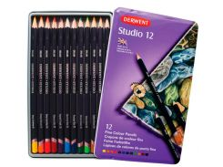 Карандаши цветные 12цв. Derwent Studio в метал коробке 32196