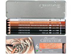 Карандаши цветные маслянные 6цв. Cretacolor Oil Pencils в метал коробке 40007