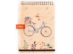 Блокнот для записей на пружине А5 70л. Kirisketch Дерево, Велосипед 770549_в клетку