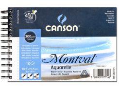 Альбом для акварели Canson 10,5*15,5см Montval Fin 12л. 300г/м спираль CON-200807154R