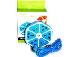 Удлинитель 1,8м (4 евро розетки, 4 USB порта, 250V) blue