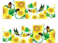 Фото-дизайн 0017 Ромашки и бабочки