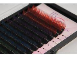 Ресницы амбре микс красно-черные изгиб С 0.10 (12 рядов 9-12мм) I-Beauty