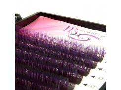 Ресницы амбре микс пурпурно-черные изгиб С 0.10 (12 рядов 9-12мм) I-Beauty