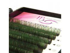 Ресницы амбре микс зелено-черные изгиб С 0.10 (12 рядов 9-12мм) I-Beauty