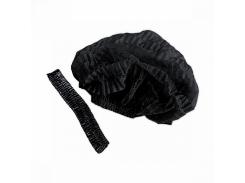 Шапочка однор. на двойной резинке,черный, 100шт, космет.Polix P&M