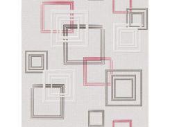 Обои бумажные Континент Джем серый с красным квадратом 1259