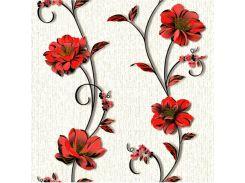 Обои бумажные Континент Деми красные цветы белый фон 1266