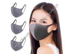 Многоразовая маска для лица темно-серая (3 шт/уп) Взрослая (3017)