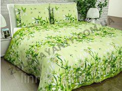 Комплект постельного белья из полиэстера 75.0, нет, Двуспальное, Зеленая лилия, Бязь