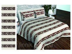 Комплект постельного белья из полиэстера 75.0, нет, Полуторный, Коричневые полосы, Полиэстер