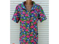 Летний халат с коротким рукавом большого размера 62 размер Розовые цветы