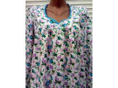 Теплая ночная рубашка из фланели большого размера 62 размер Голубые бутоны
