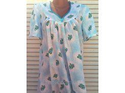 Ночная рубашка с рукавом 46 размер Голубой бантик