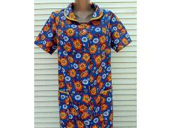 Летний халат с коротким рукавом 50 размер Оранжевые цветы