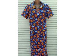 Летний халат с коротким рукавом большого размера 60 размер Оранжевые цветы
