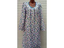 Теплая ночная рубашка из фланели 46 размер Голубые бутоны