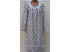 Теплая ночная рубашка из фланели 50 размер Голубые бутоны