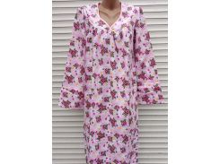 Теплая ночная рубашка из фланели 46 размер Фиалки розовые