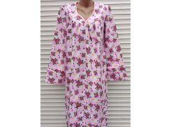 Теплая ночная рубашка из фланели 52 размер Фиалки розовые