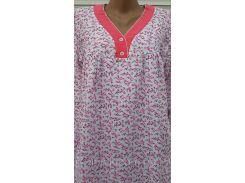 Трикотажная ночная рубашка розовые пуговки
