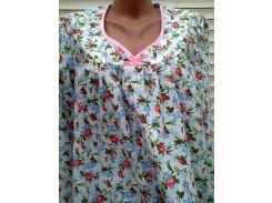 Теплая ночная рубашка из фланели 58 размер Розовые бутоны